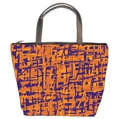 Blue And Orange Decorative Pattern Bucket Bags by Valentinaart