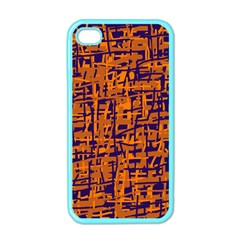Blue And Orange Decorative Pattern Apple Iphone 4 Case (color) by Valentinaart