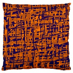 Blue And Orange Decorative Pattern Large Cushion Case (two Sides) by Valentinaart