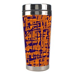 Blue And Orange Decorative Pattern Stainless Steel Travel Tumblers by Valentinaart