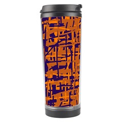 Blue And Orange Decorative Pattern Travel Tumbler by Valentinaart
