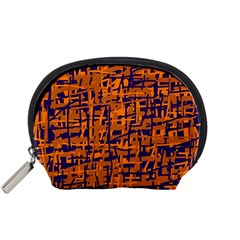 Blue And Orange Decorative Pattern Accessory Pouches (small)  by Valentinaart