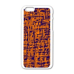 Blue And Orange Decorative Pattern Apple Iphone 6/6s White Enamel Case by Valentinaart