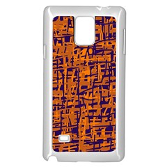 Blue And Orange Decorative Pattern Samsung Galaxy Note 4 Case (white) by Valentinaart
