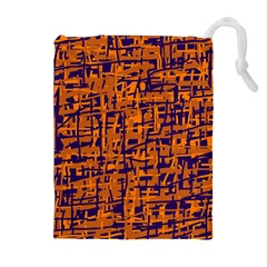 Blue And Orange Decorative Pattern Drawstring Pouches (extra Large) by Valentinaart