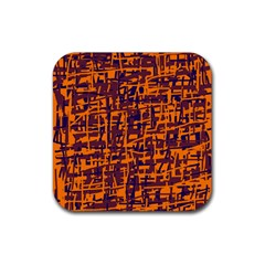 Orange And Blue Pattern Rubber Square Coaster (4 Pack)  by Valentinaart