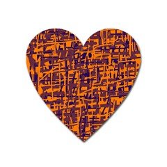 Orange And Blue Pattern Heart Magnet by Valentinaart