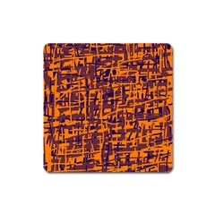 Orange And Blue Pattern Square Magnet by Valentinaart