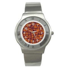 Orange And Blue Pattern Stainless Steel Watch by Valentinaart