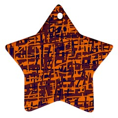 Orange And Blue Pattern Star Ornament (two Sides)  by Valentinaart