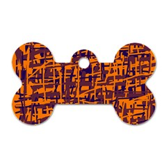 Orange And Blue Pattern Dog Tag Bone (two Sides) by Valentinaart