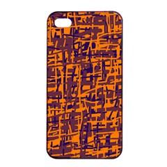 Orange And Blue Pattern Apple Iphone 4/4s Seamless Case (black) by Valentinaart