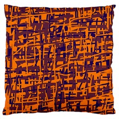 Orange And Blue Pattern Large Cushion Case (one Side) by Valentinaart
