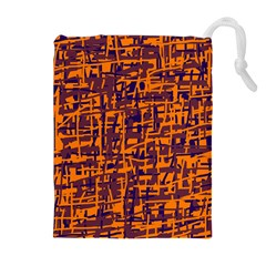 Orange And Blue Pattern Drawstring Pouches (extra Large) by Valentinaart