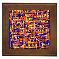 Orange, Blue And Yellow Pattern Framed Tiles by Valentinaart