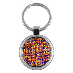 Orange, Blue And Yellow Pattern Key Chains (round)  by Valentinaart