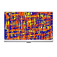 Orange, Blue And Yellow Pattern Business Card Holders by Valentinaart