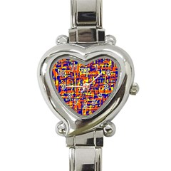 Orange, Blue And Yellow Pattern Heart Italian Charm Watch by Valentinaart