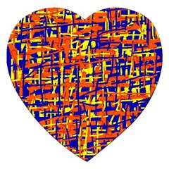 Orange, Blue And Yellow Pattern Jigsaw Puzzle (heart) by Valentinaart