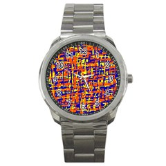 Orange, Blue And Yellow Pattern Sport Metal Watch by Valentinaart