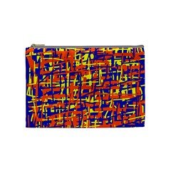 Orange, Blue And Yellow Pattern Cosmetic Bag (medium)  by Valentinaart