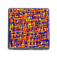 Orange, Blue And Yellow Pattern Memory Card Reader (square) by Valentinaart