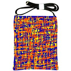 Orange, Blue And Yellow Pattern Shoulder Sling Bags by Valentinaart