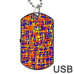 Orange, Blue And Yellow Pattern Dog Tag Usb Flash (one Side) by Valentinaart
