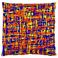 Orange, Blue And Yellow Pattern Large Cushion Case (two Sides) by Valentinaart