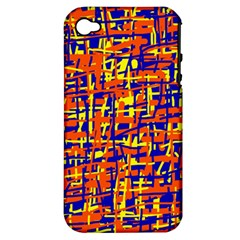 Orange, Blue And Yellow Pattern Apple Iphone 4/4s Hardshell Case (pc+silicone) by Valentinaart