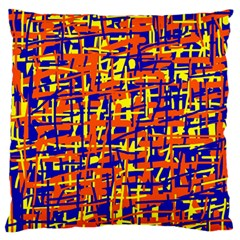 Orange, Blue And Yellow Pattern Large Flano Cushion Case (one Side) by Valentinaart
