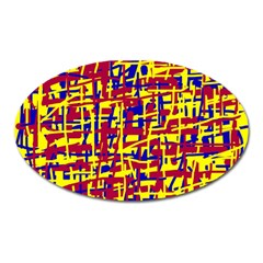 Red, Yellow And Blue Pattern Oval Magnet by Valentinaart