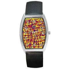 Red, Yellow And Blue Pattern Barrel Style Metal Watch by Valentinaart