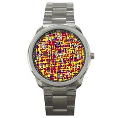Red, Yellow And Blue Pattern Sport Metal Watch by Valentinaart