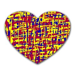 Red, Yellow And Blue Pattern Heart Mousepads by Valentinaart