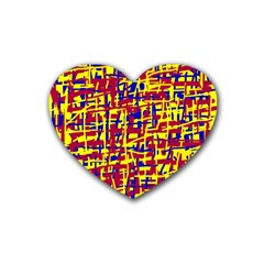 Red, Yellow And Blue Pattern Rubber Coaster (heart)  by Valentinaart