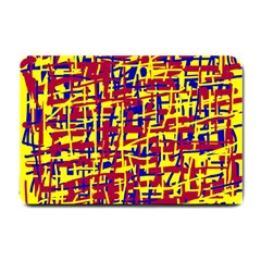 Red, Yellow And Blue Pattern Small Doormat  by Valentinaart