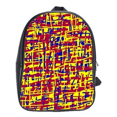 Red, Yellow And Blue Pattern School Bags(large)  by Valentinaart