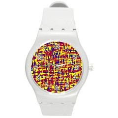 Red, Yellow And Blue Pattern Round Plastic Sport Watch (m) by Valentinaart