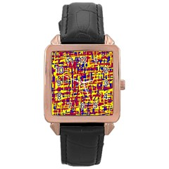Red, Yellow And Blue Pattern Rose Gold Leather Watch  by Valentinaart