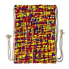 Red, Yellow And Blue Pattern Drawstring Bag (large) by Valentinaart