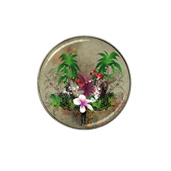 Wonderful Tropical Design With Palm And Flamingo Hat Clip Ball Marker (10 Pack) by FantasyWorld7