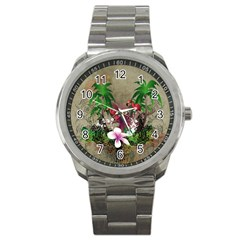 Wonderful Tropical Design With Palm And Flamingo Sport Metal Watch by FantasyWorld7