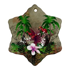 Wonderful Tropical Design With Palm And Flamingo Snowflake Ornament (2 Side) by FantasyWorld7