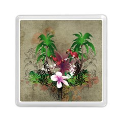 Wonderful Tropical Design With Palm And Flamingo Memory Card Reader (square)  by FantasyWorld7