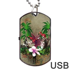 Wonderful Tropical Design With Palm And Flamingo Dog Tag Usb Flash (two Sides)  by FantasyWorld7
