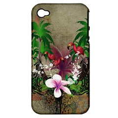 Wonderful Tropical Design With Palm And Flamingo Apple Iphone 4/4s Hardshell Case (pc+silicone) by FantasyWorld7