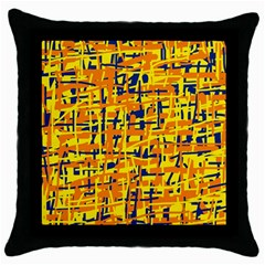 Yellow, Orange And Blue Pattern Throw Pillow Case (black) by Valentinaart