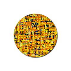 Yellow, Orange And Blue Pattern Rubber Coaster (round)  by Valentinaart