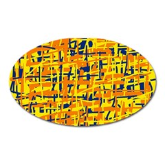 Yellow, Orange And Blue Pattern Oval Magnet by Valentinaart
